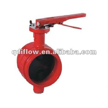 Cast iron groove butterfly valve with rubber coated disc