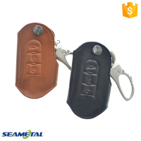 Car Genuine Leather Remote Key Cover Case 3 Button Interior Accessories For Fiat 500
