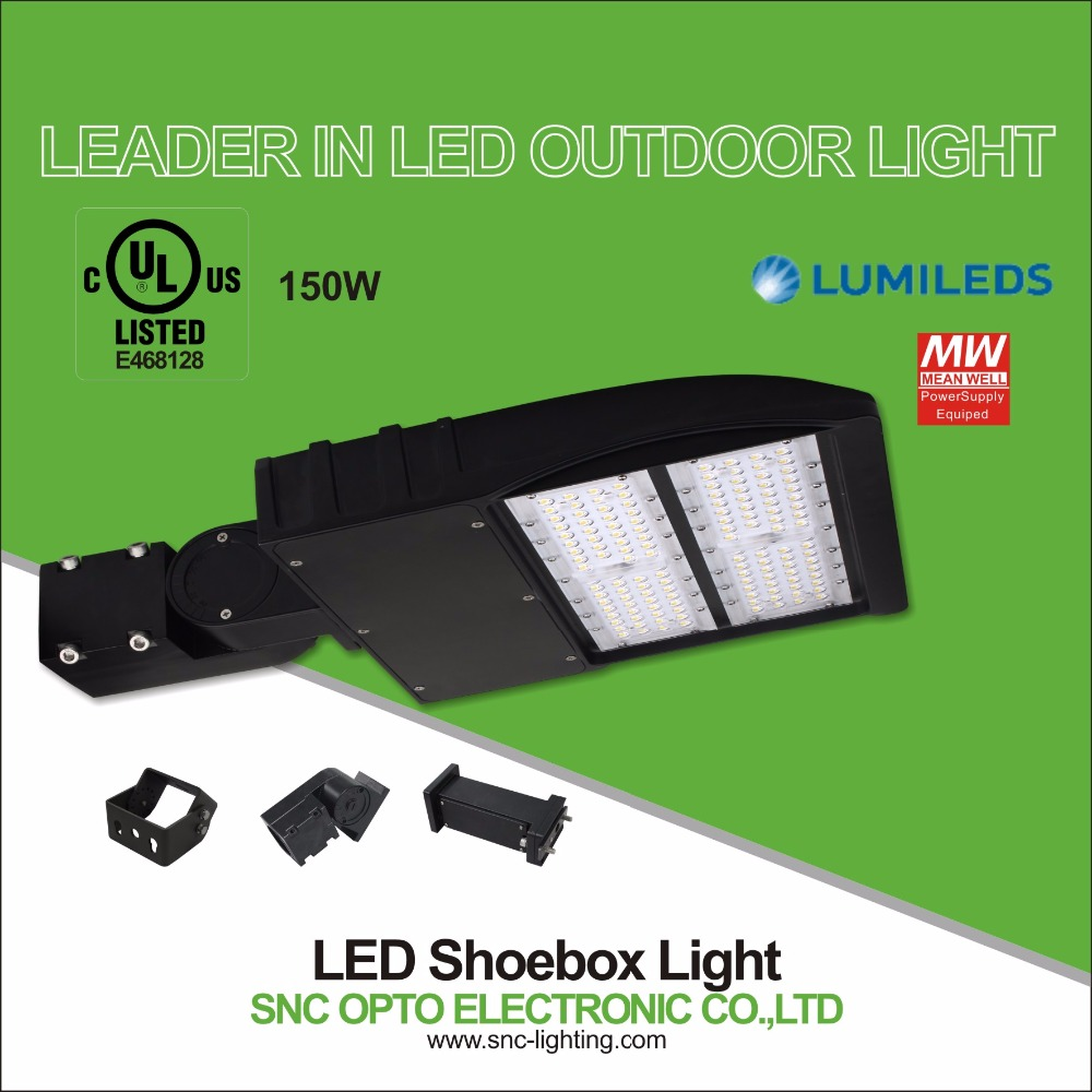 UL 150W led parking lot lighting poles IP65 led shoebox light 18000-19400LM Mean Well driver 5 years warranty high CRI