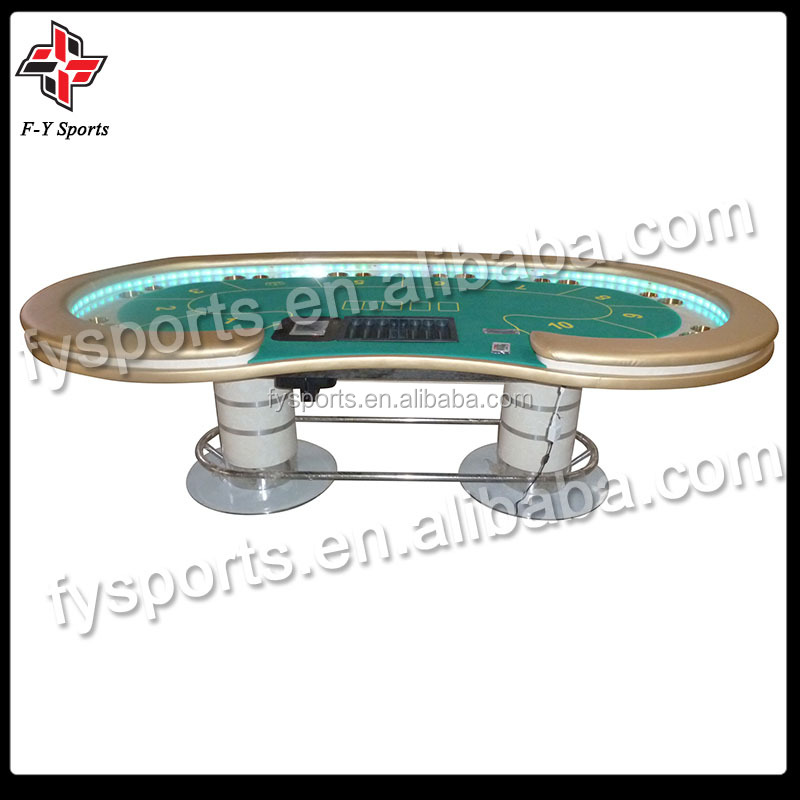 casino texas poker table with LED strip /10 person LED poker table