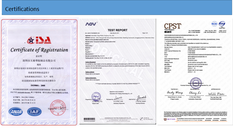 our workshop, materail certificates