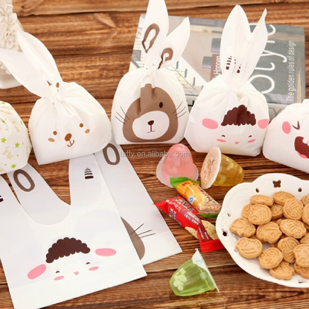 Cute rabbit ear cookie bags Self-adhesive Plastic Bags for Biscuits Snack Baking Package food bag party Supplies