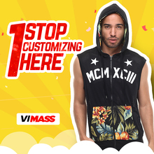 Zip up custom men sleeveless hoodie