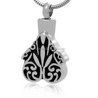 TKB-P1301 Funeral Casket Plants Silver Cremation Jewelry Pet Ashes Pendant Urn Necklace