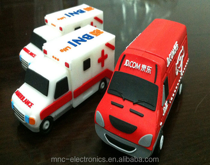 Promotional gift item custom branded logo ambulance car shaped 4GB usb flash memory pen drive