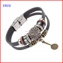 Import Jewelry From China Handmade Vintage Metal Racket Charm Leather Bracelet