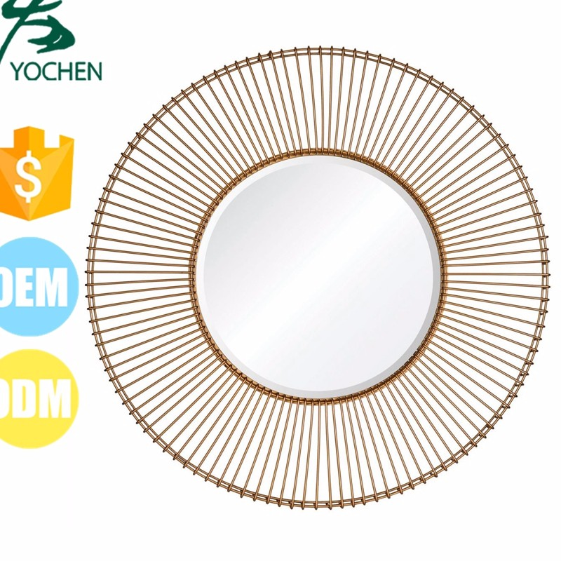 Antique Gold Finish Round Shape Metal Beveled Glass Mirror