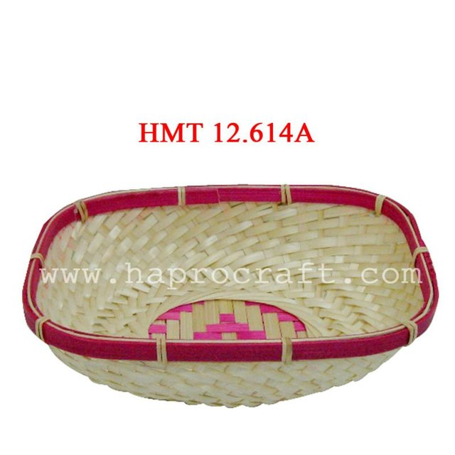Vietnam bamboo mini basket/Cheap bamboo basket/Handmade bamboo mini tray (HMT 12.614A)