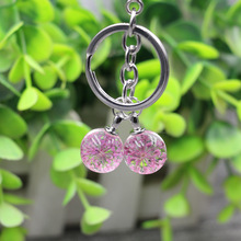 Fashion Cute Glass Crystal Ball Keychain Dried Flower Bag Keychains Wholesale