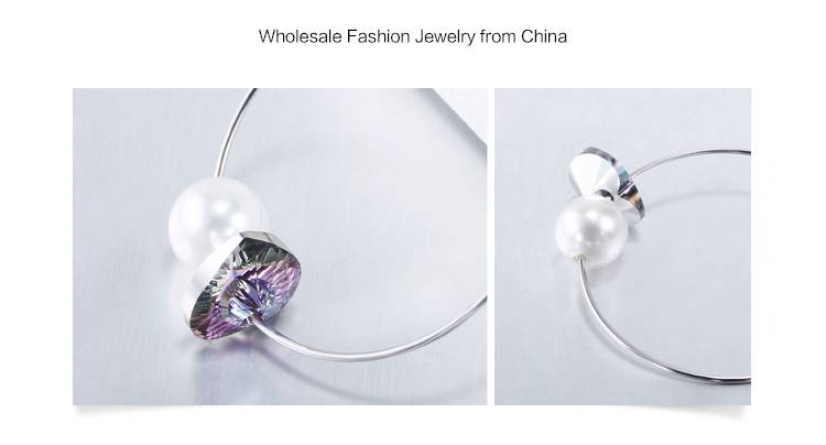 Fashion Women Jewelry Austrian Crystal Charm Pendant and White Water Pearl Big Hoop Earrings