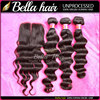 no chemical processed blossom bundles wholesale virgin brazilian hair 3 bundles loose deep wave with lace closure