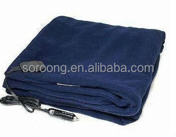 12V Heated Travel Electric Blanket Car Navy Blue Fleece Battery Operated Electric Blanket