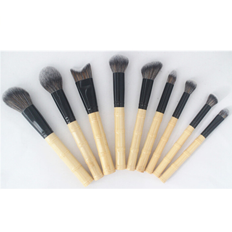 9pcs Professional Synthetic Hair Makeup Brush Set, Customized Bamboo Handle Makeup Brush Set