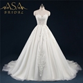 WD-18 Real Hand Made Flower Lace Applique Bridal Gown Sleeveless Princess Ball Gown Wedding Dresses Vestido De Noiva Praia