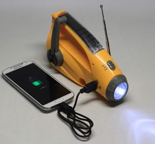 Outdoor Usage Built in Battery led torch Solar Mobile Phone Charger