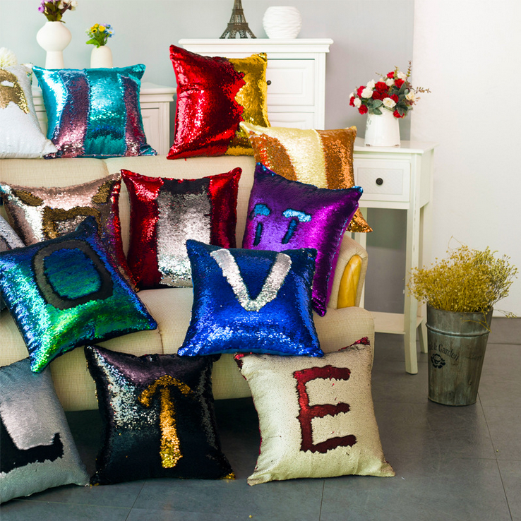 Luxurious Reversible Sequin Mermaid Sequin Pillow Magical Color Throw Pillow Home Deco Cushion Decorative Pillowcase 40x40cm
