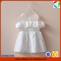 2016 Factory direct new fashion child dress for party wear elegant girls dress wholesale simple white kid dress (ulik-D041)