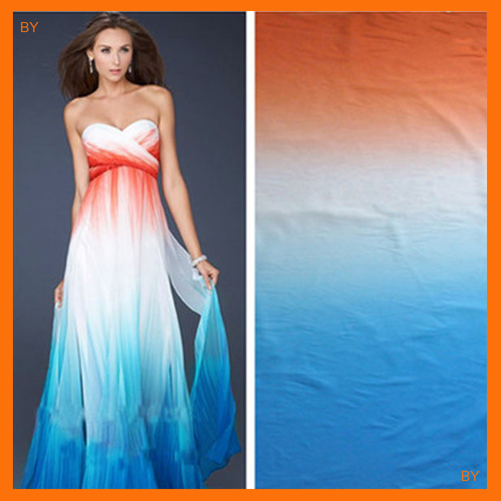 orange white blue shade gradual chiffon ombre <strong>material</strong> for wedding dress