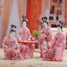 Chinese Hand Maded Ceramic Antique Colorful Beauty Porcelain Figure Sculpture
