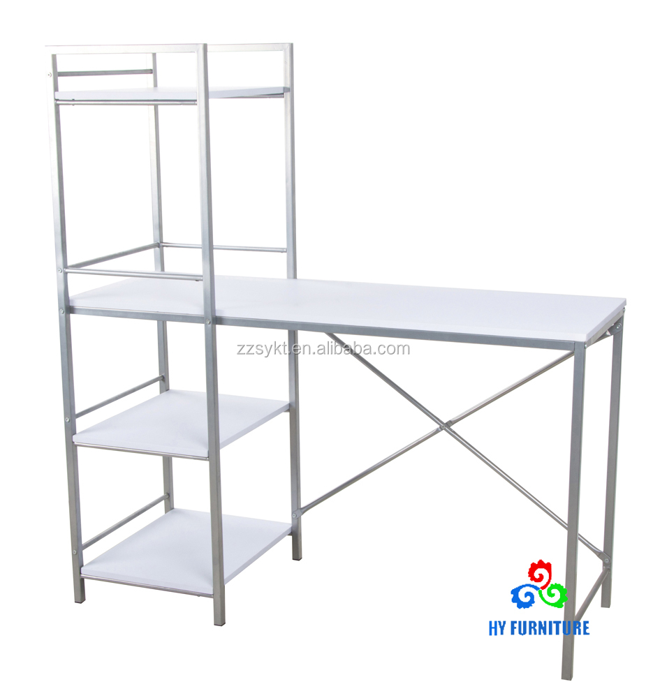 Home office steel wooden computer desks study writing tables with bookcase wholesale