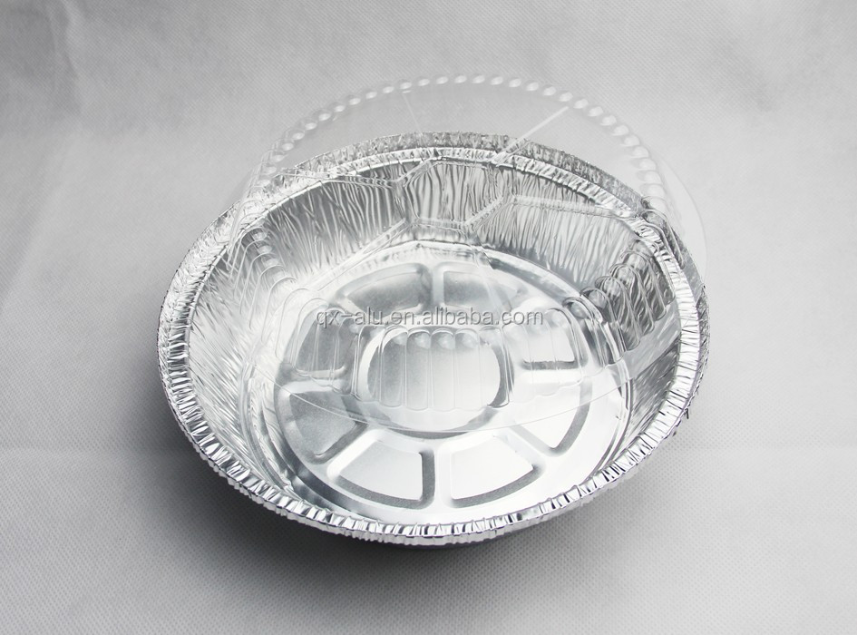 "9"" Round Aluminum Foil Cake Pan w/Clear Dome Lid 50/PK"
