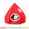 Cute red christmas hat design comfortable felt pet cat house