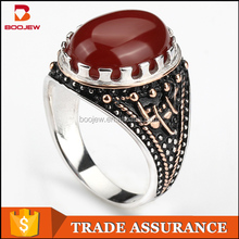 Wholesale S925 Silver Arab Men Red Agate Stone Ring With Good Plating