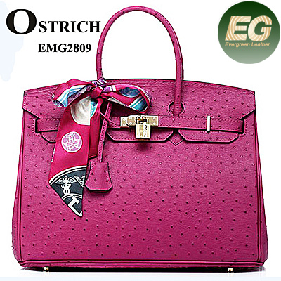 Brand ostrich stylish embossed woman ladies scarf tote handbags genuine leather bags EMG2809