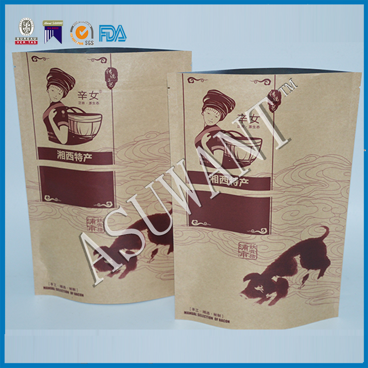beef jerky packaging custom printing paper bags for food/heal seal Kraft paper bag for dry food