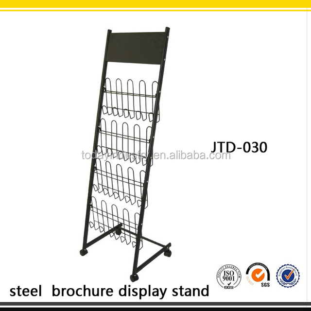 Mobile Literature Rack collapsible metal pocket display stand,steel wire brochure display stand
