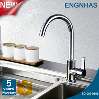 Long neck brass kitchen tap for hot and cold water