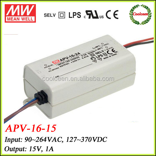 Meanwell APV-16-15 15w constant voltage led driver 15V 1A