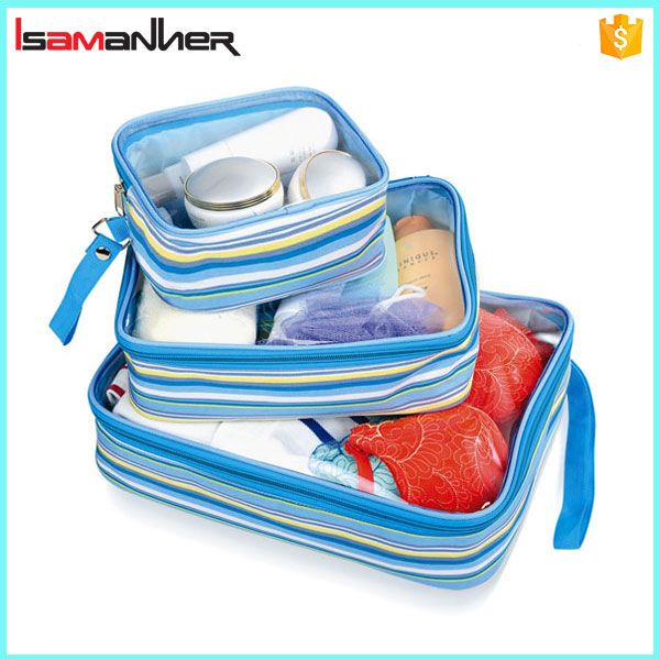 3 in 1 cheap travel packing cubes set with clear pvc, wholesale travel organizer bag set