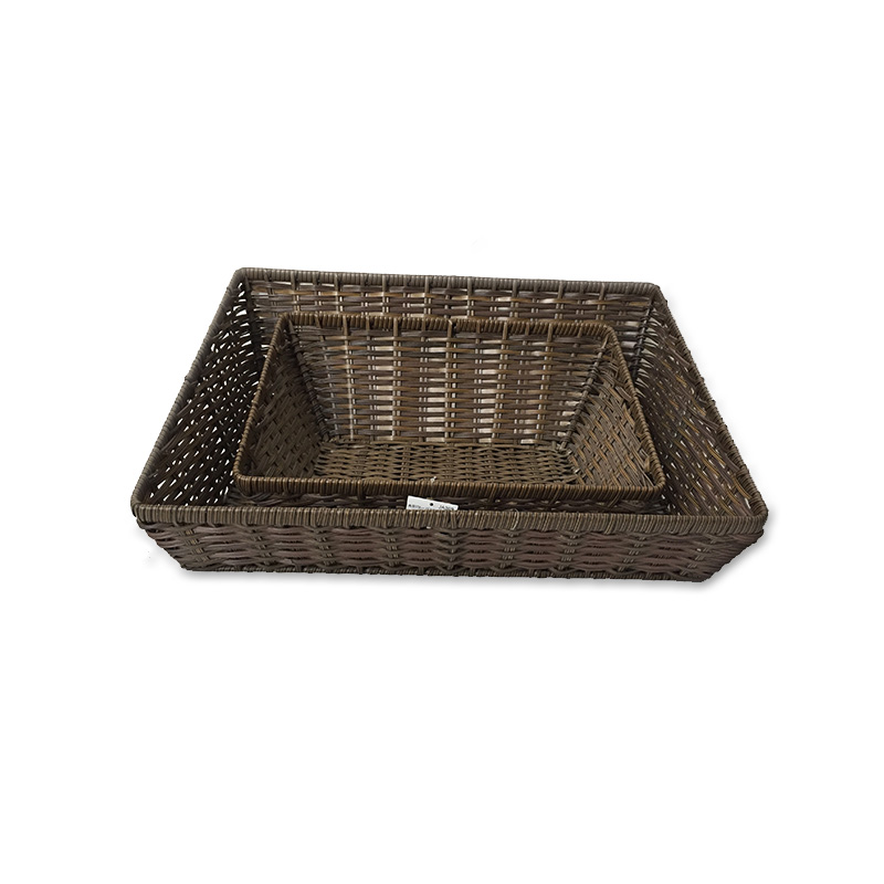 Customized food storage hand woven empty plastic poly rattan bread fruit vegetable display basket