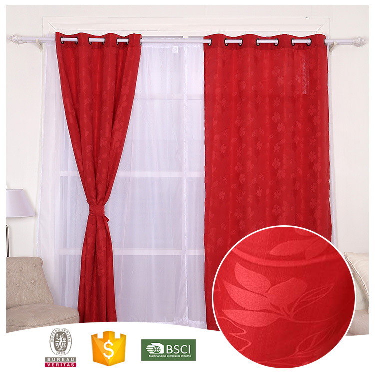 China Manufacturer Useful Gromment Style Red Flower Jacquard Curtain