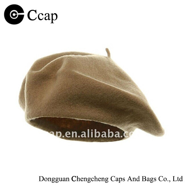 wholesale 100% wool high quality retro khaki funky beanie beret hat
