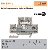 Weidmuller PDK 2.5/4 V Double Level Push In Wire Terminal Block