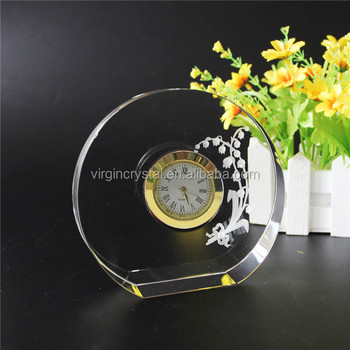New design crystal 3d laser engraving flower clock in round shape for wedding favor