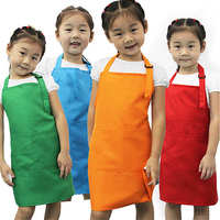 New Cleaning Apron Children Kitchen Cooking Baking Painting Art Keep Clean Pocket Bib Kids Apron