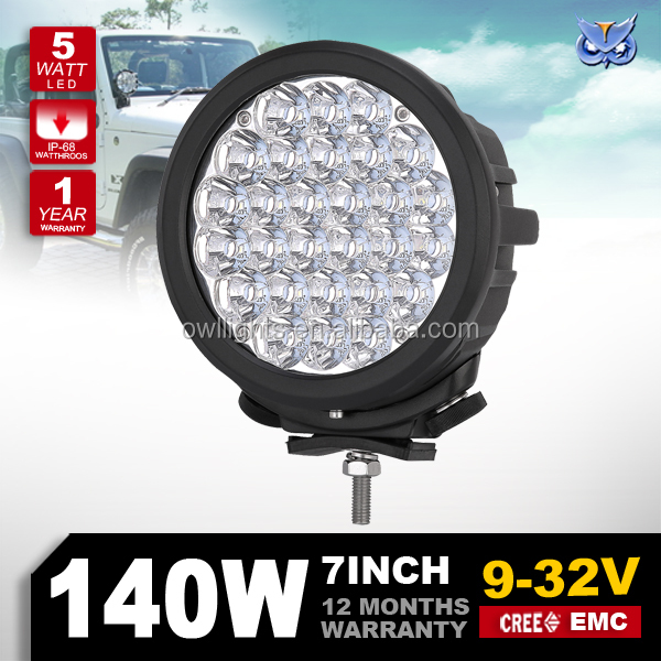 Spot beam 90w 140w led work light 12v 7inch 140w round led driving light for 4wd offroad,scooter,utv,suv,atv,boat,truck,tractor