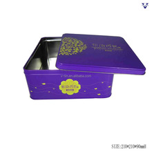 Purple colour decorative metal food tin box