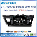 ZESTECH Wholesales 7 inch touch screen car dvd with gps navigation double din car dvd player for TOYOTA COROLLA 2014 RHD
