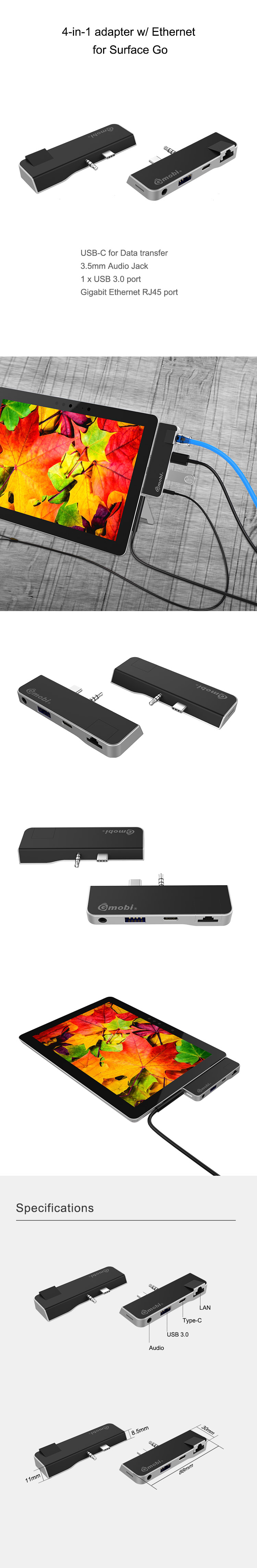 Gopod 4 in 1 Multiport Adapter Type c USB C Hub with ethernet ,3.5mm audio jack for Surface Go