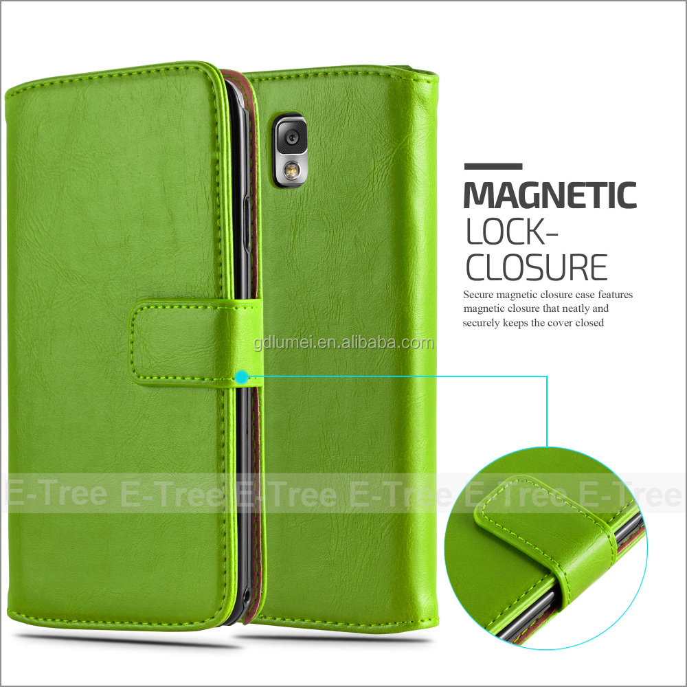 For Samsung Galaxy Note 3 PU Leather Wallet Card Slots cell phone Case