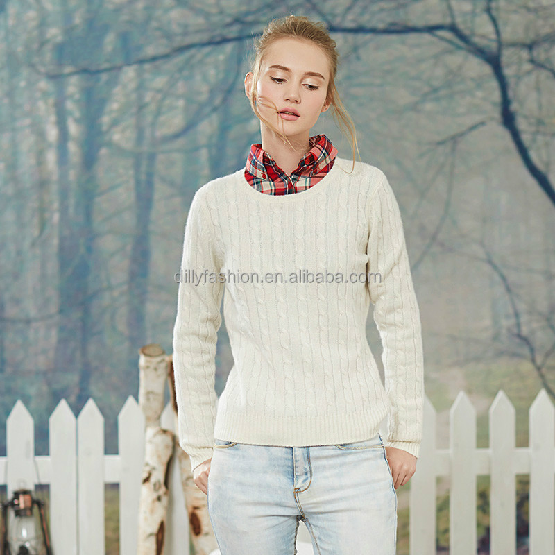 2016 ladies cable knit pullover pattern 100% cashmere sweater