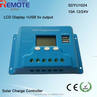 10A 12V 24V solar controller LCD solar charge controller with 5v USB output
