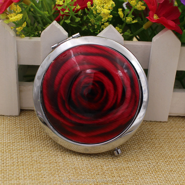 Custom beautiful round red metal mirror pocket/rose cosmetic mirror/compact mirror from Zhongshan