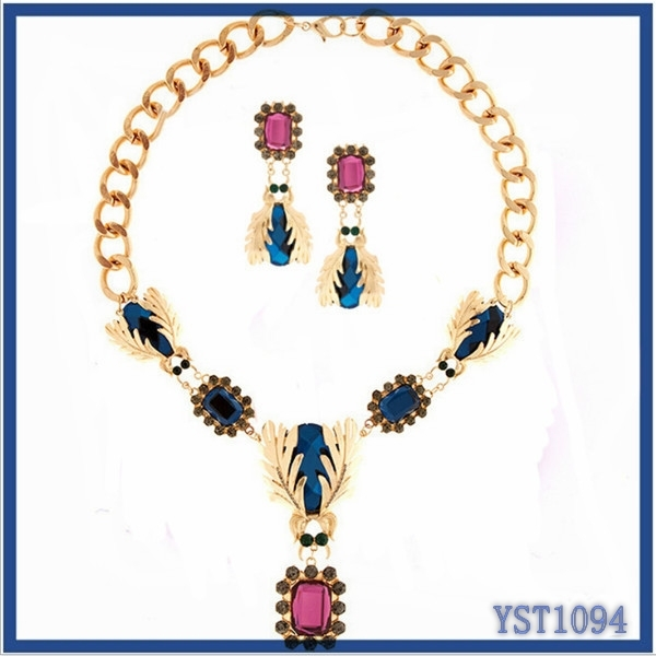 Trendy <strong>fashionable</strong> 2015&2016 new designer bohemian style big brand brides imitation gemstone jewelry sets