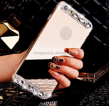 Pure Manual Luxury Crystal Diamond Plating Mirror Silicone Phone Case Cover for iPhone 5 5s 6 6 Plus
