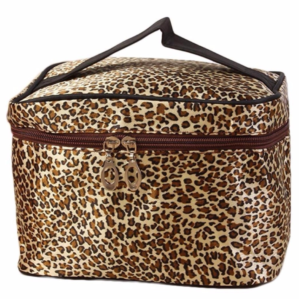 Leopard Print Cosmetic Bags Women Travel Makeup Case